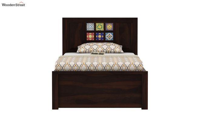 Boho Single Bed With Storage (Walnut Finish)-5