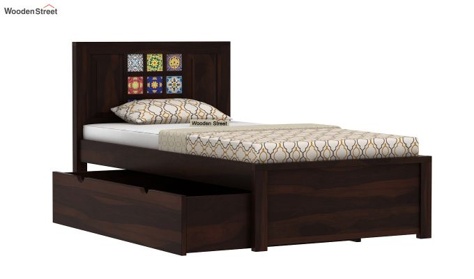 Boho Single Bed With Storage (Walnut Finish)-6
