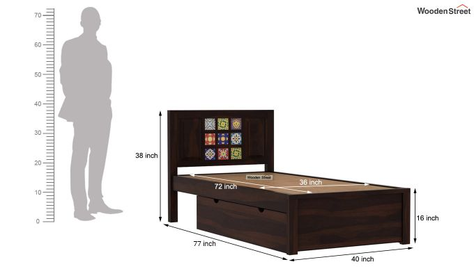 Boho Single Bed With Storage (Walnut Finish)-8
