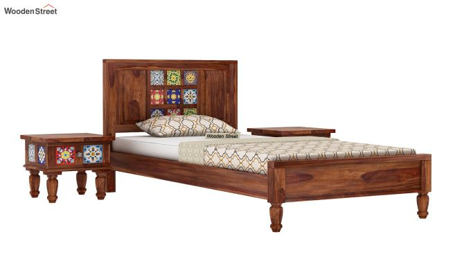 Boho Single Bed Without Storage (Teak Finish)-2