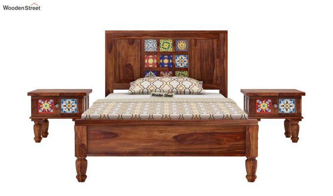 Boho Single Bed Without Storage (Teak Finish)-3
