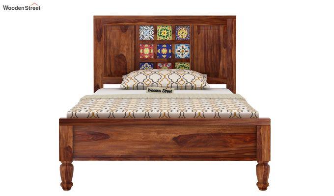 Boho Single Bed Without Storage (Teak Finish)-5