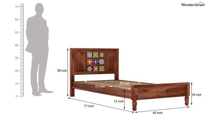 Boho Single Bed Without Storage (Teak Finish)-7