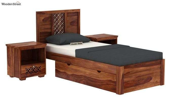 Cambrey Single Bed With Storage (Teak Finish)-2