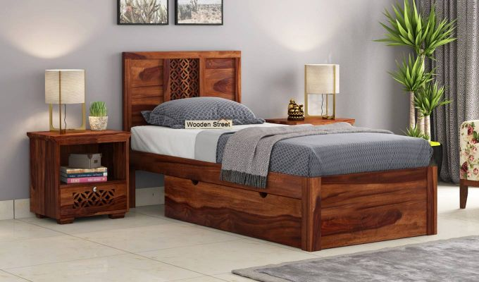 Cambrey Single Bed With Storage (Teak Finish)-1