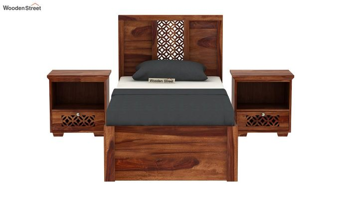 Cambrey Single Bed With Storage (Teak Finish)-3