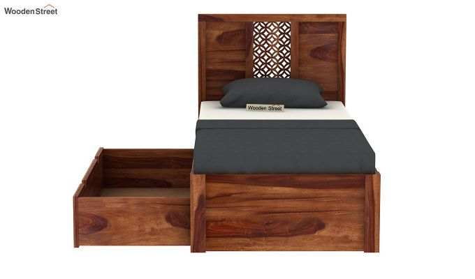 Cambrey Single Bed With Storage (Teak Finish)-5