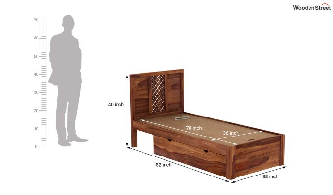 Cambrey Single Bed With Storage (Teak Finish)-9