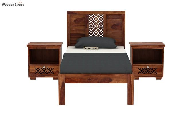 Cambrey Single Bed Without Storage (Teak Finish)-3