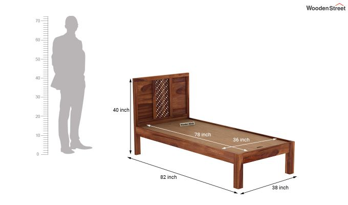 Cambrey Single Bed Without Storage (Teak Finish)-7