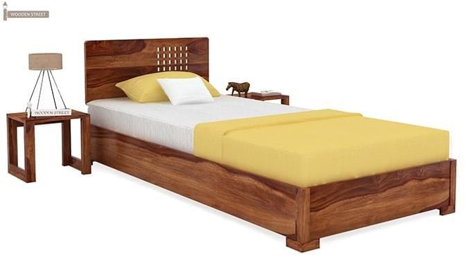 Damon Single Bed (Teak Finish)-1