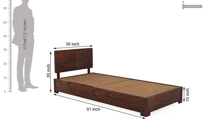 Damon Single Bed (Walnut Finish)-5
