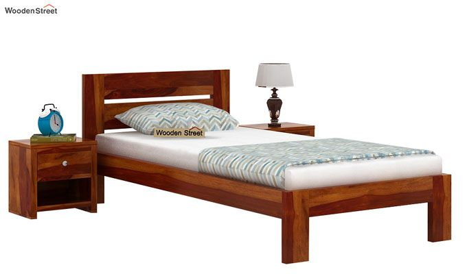 Denzel Single Bed Without Storage (Honey Finish)-1