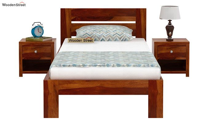 Denzel Single Bed Without Storage (Honey Finish)-2