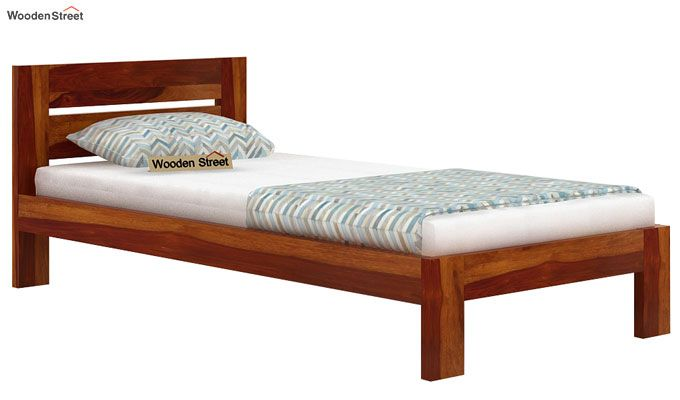 Denzel Single Bed Without Storage (Honey Finish)-3