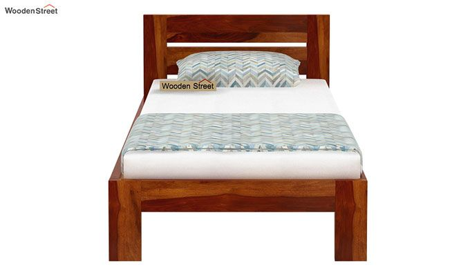 Denzel Single Bed Without Storage (Honey Finish)-4
