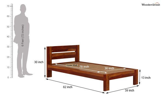 Denzel Single Bed Without Storage (Honey Finish)-6