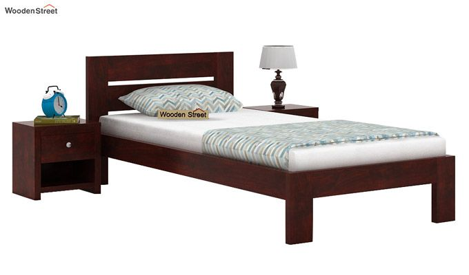Denzel Single Bed Without Storage (Mahogany Finish)-1