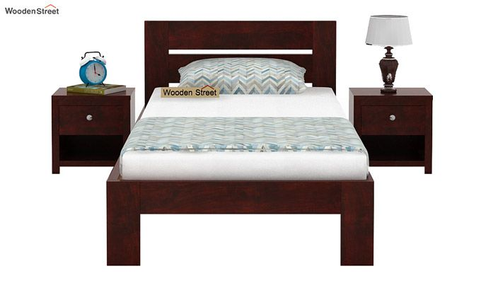 Denzel Single Bed Without Storage (Mahogany Finish)-2
