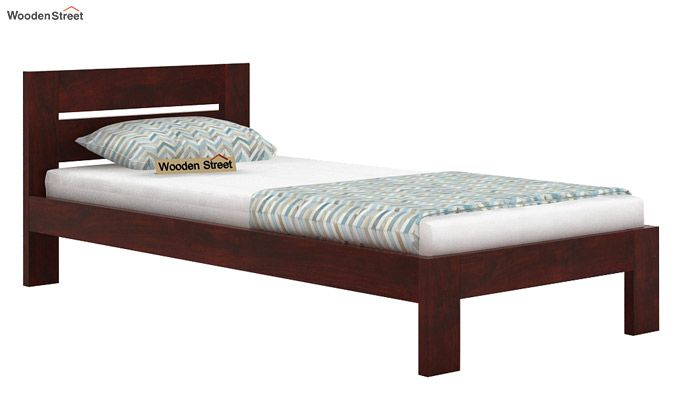 Denzel Single Bed Without Storage (Mahogany Finish)-3