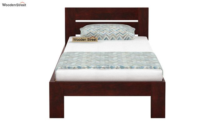 Denzel Single Bed Without Storage (Mahogany Finish)-4