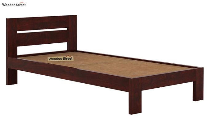 Denzel Single Bed Without Storage (Mahogany Finish)-5