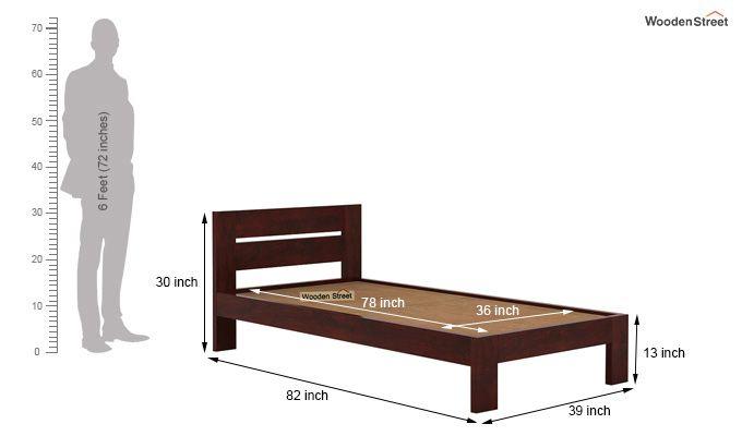 Denzel Single Bed Without Storage (Mahogany Finish)-6