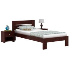 Denzel Single Bed Without Storage (Mahogany Finish)