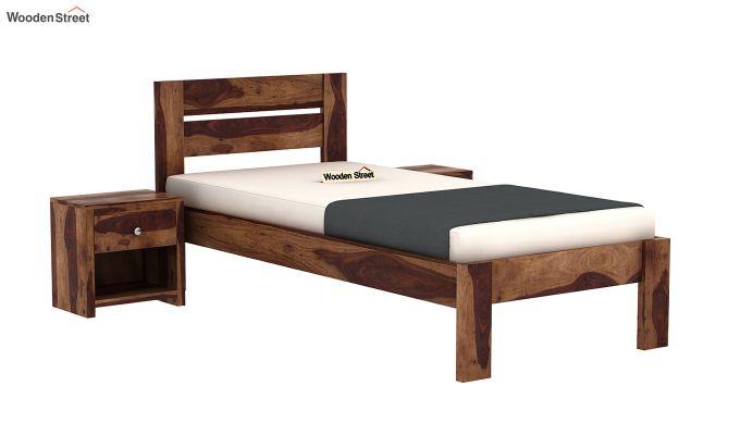 Denzel Single Bed Without Storage (Teak Finish)-2