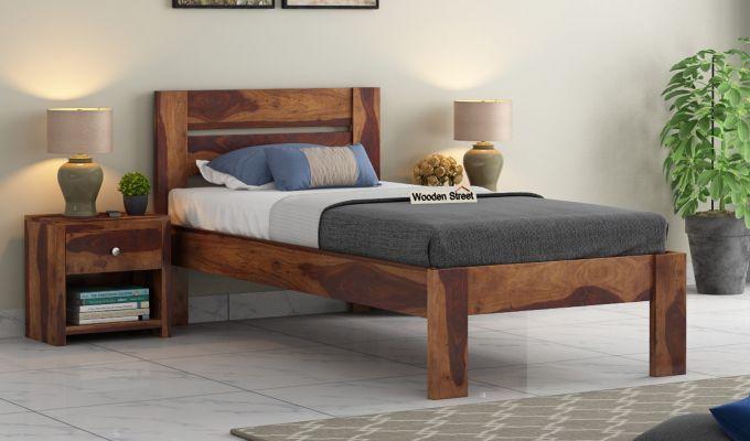 Denzel Single Bed Without Storage (Teak Finish)-1