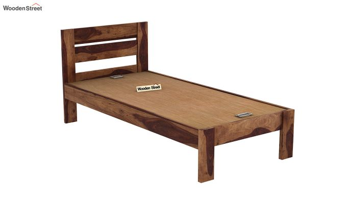 Denzel Single Bed Without Storage (Teak Finish)-6