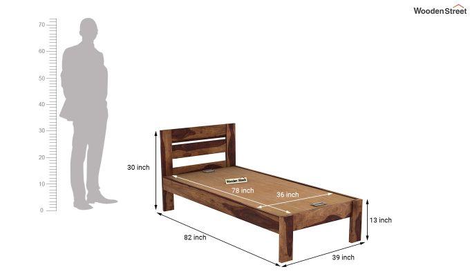Denzel Single Bed Without Storage (Teak Finish)-7