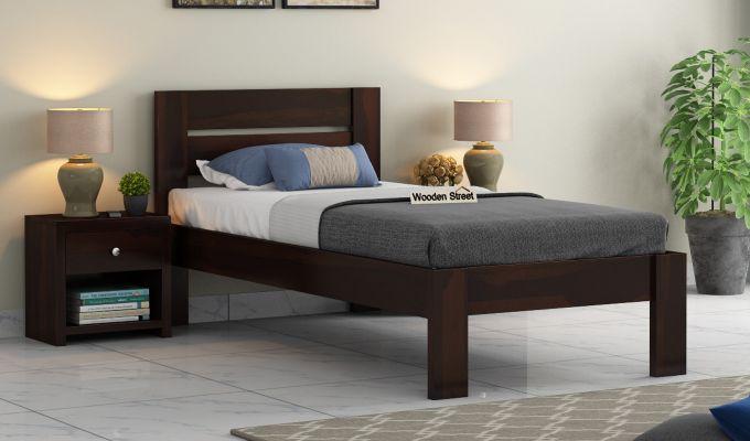 Denzel Single Bed Without Storage (Walnut Finish)-1