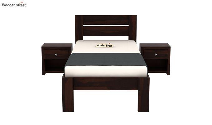 Denzel Single Bed Without Storage (Walnut Finish)-3