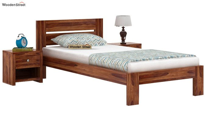 Denzel Single Bed Without Storage (Teak Finish)-1
