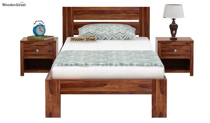 Denzel Single Bed Without Storage (Teak Finish)-2