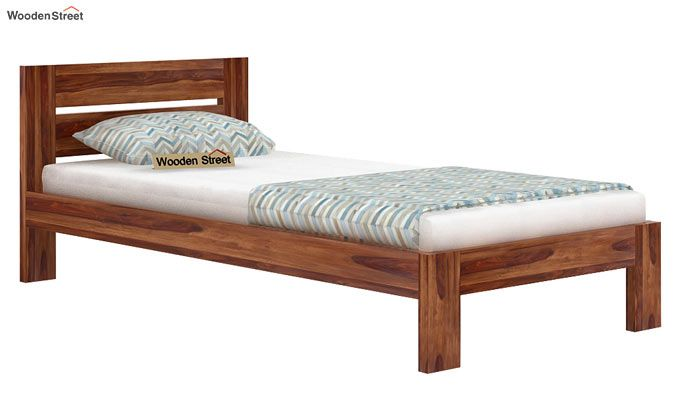 Denzel Single Bed Without Storage (Teak Finish)-3