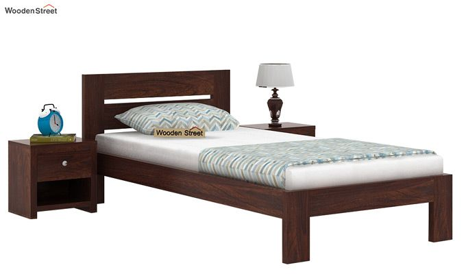 Denzel Single Bed Without Storage (Walnut Finish)-2