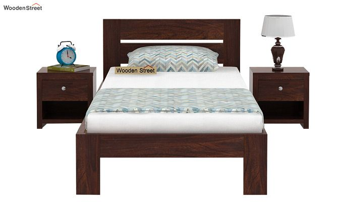Denzel Single Bed Without Storage (Walnut Finish)-3