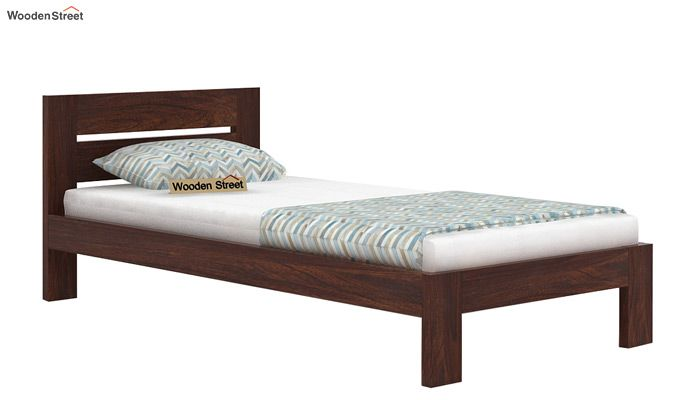 Denzel Single Bed Without Storage (Walnut Finish)-4