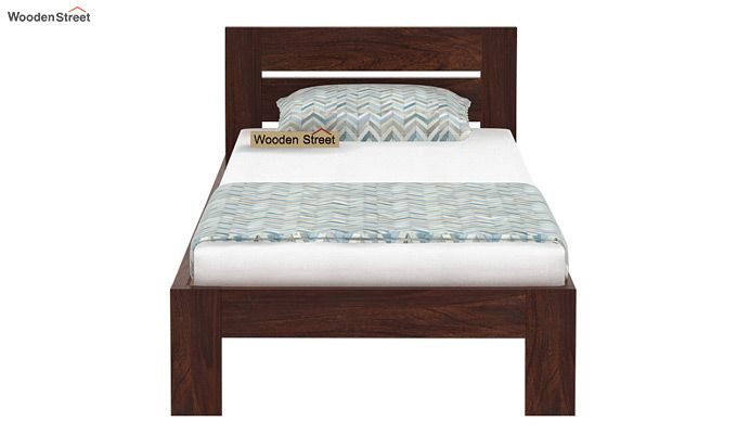 Denzel Single Bed Without Storage (Walnut Finish)-5