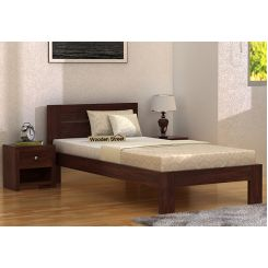 Denzel Single Bed Without Storage (Walnut Finish)