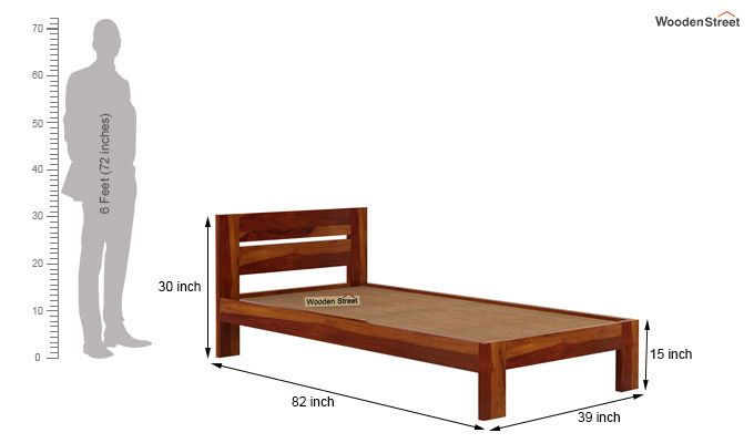 Denzel Single Bed Without Storage (Honey Finish)-6
