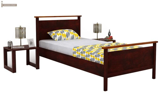 Denzil Single Bed (Mahogany Finish)-2