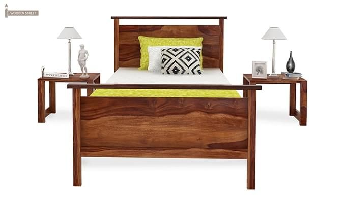 Denzil Single Bed (Teak Finish)-3