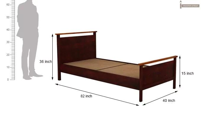 Denzil Single Bed (Mahogany Finish)-7
