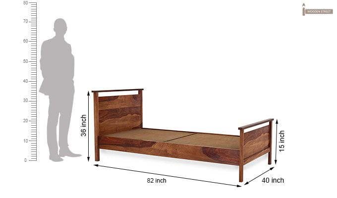 Denzil Single Bed (Teak Finish)-6