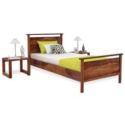 Denzil Single Bed (Teak Finish)