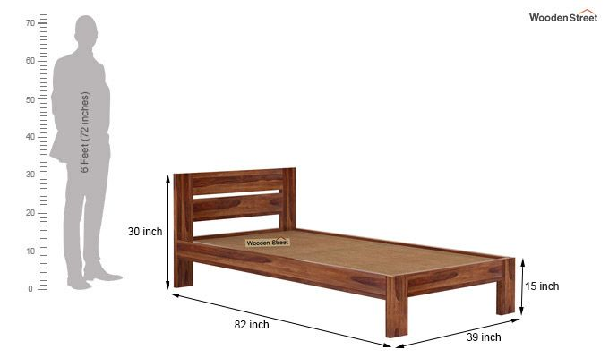 Denzel Single Bed Without Storage (Teak Finish)-6