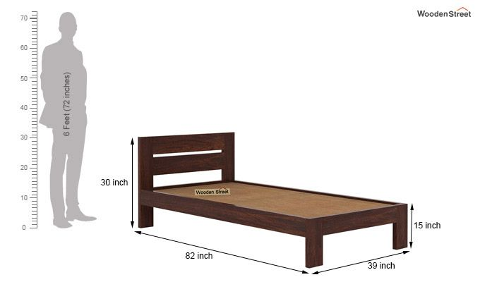 Denzel Single Bed Without Storage (Walnut Finish)-7